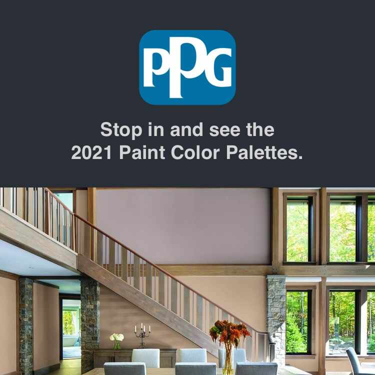A home interior and the PPG logo.