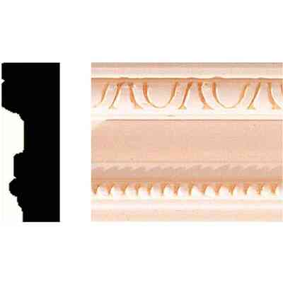 House of Fara 3/4 In. W. x 2 In. H. x 8 Ft. L. Hardwood Scrolled Decorative Chair Rail Molding