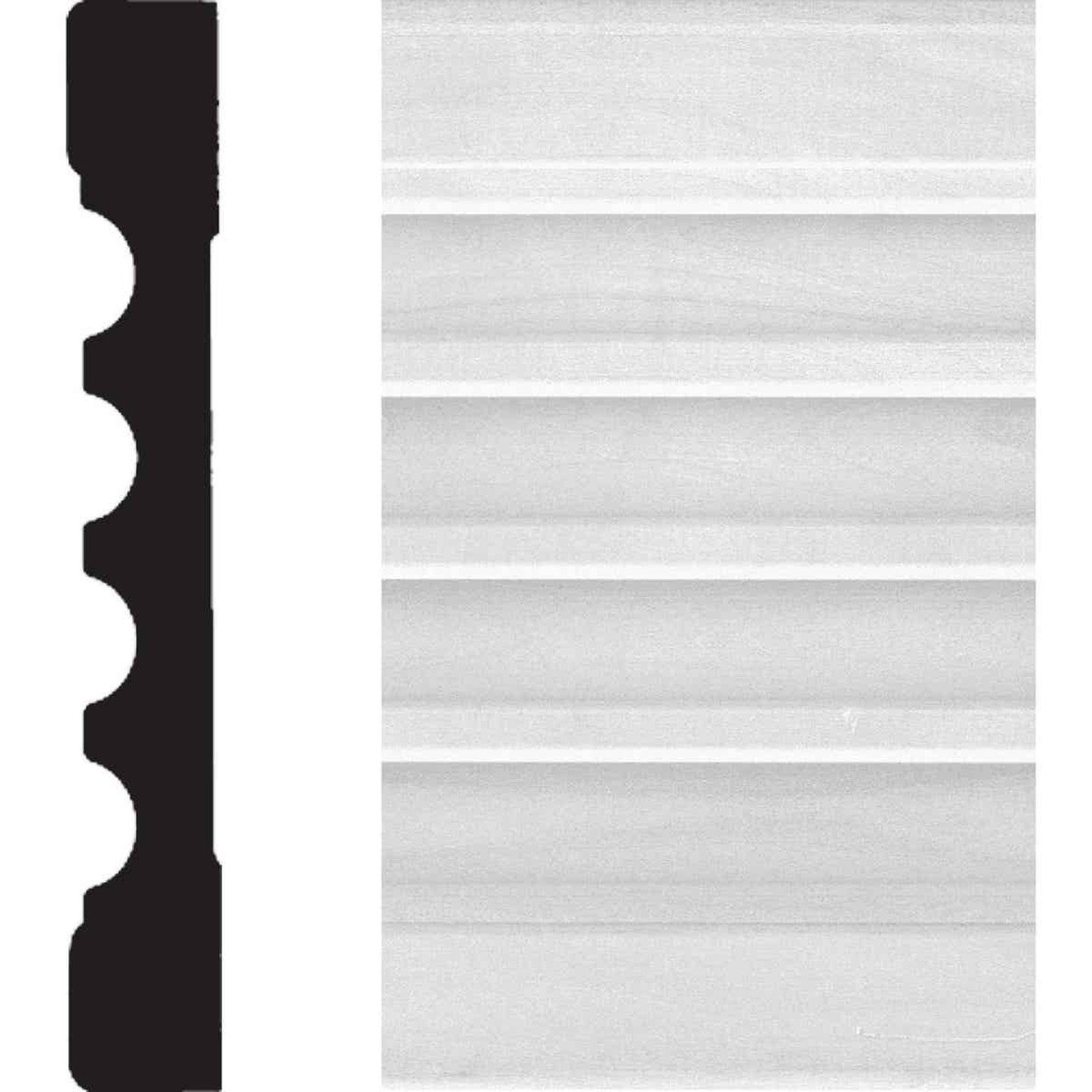 House of Fara 3/4 In. W. x 5-1/4 In. H. x 8 Ft. L. White MDF Fluted Casing Molding Image 1
