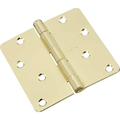 National 4 In. x 1/4 In. Radius Polished Brass Door Hinge