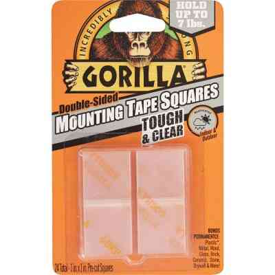 Gorilla Glue 1 In. x 1 In. 7 Lb. Capacity Permanent Clear Mounting Squares (24-Pack)