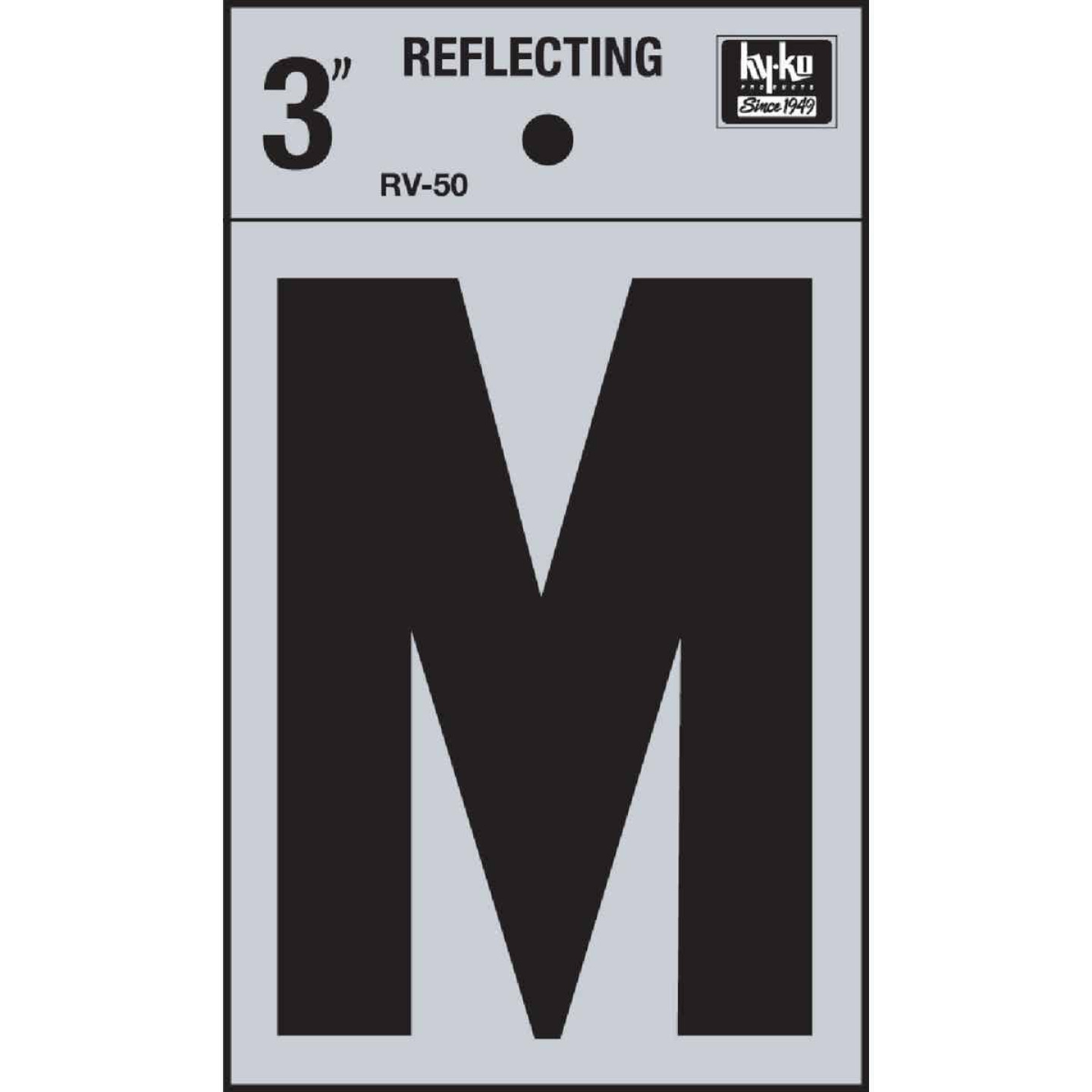 Hy-Ko Vinyl 3 In. Reflective Adhesive Letter, M Image 1
