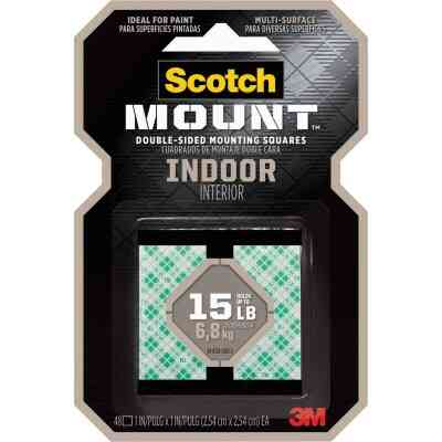 3M Scotch 1 In. x 1 In. 15 Lb. Capacity Removable Mounting Squares (48-Pack)