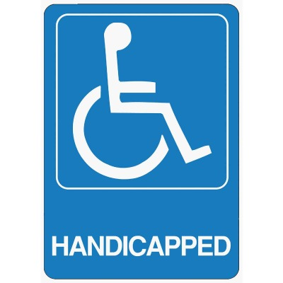 Hy-Ko Deco Series Heavy-Duty Plastic Sign, Handicapped