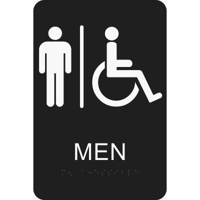 Hy-Ko Deco Series Plastic Braille Restroom Sign, Men Handicapped
