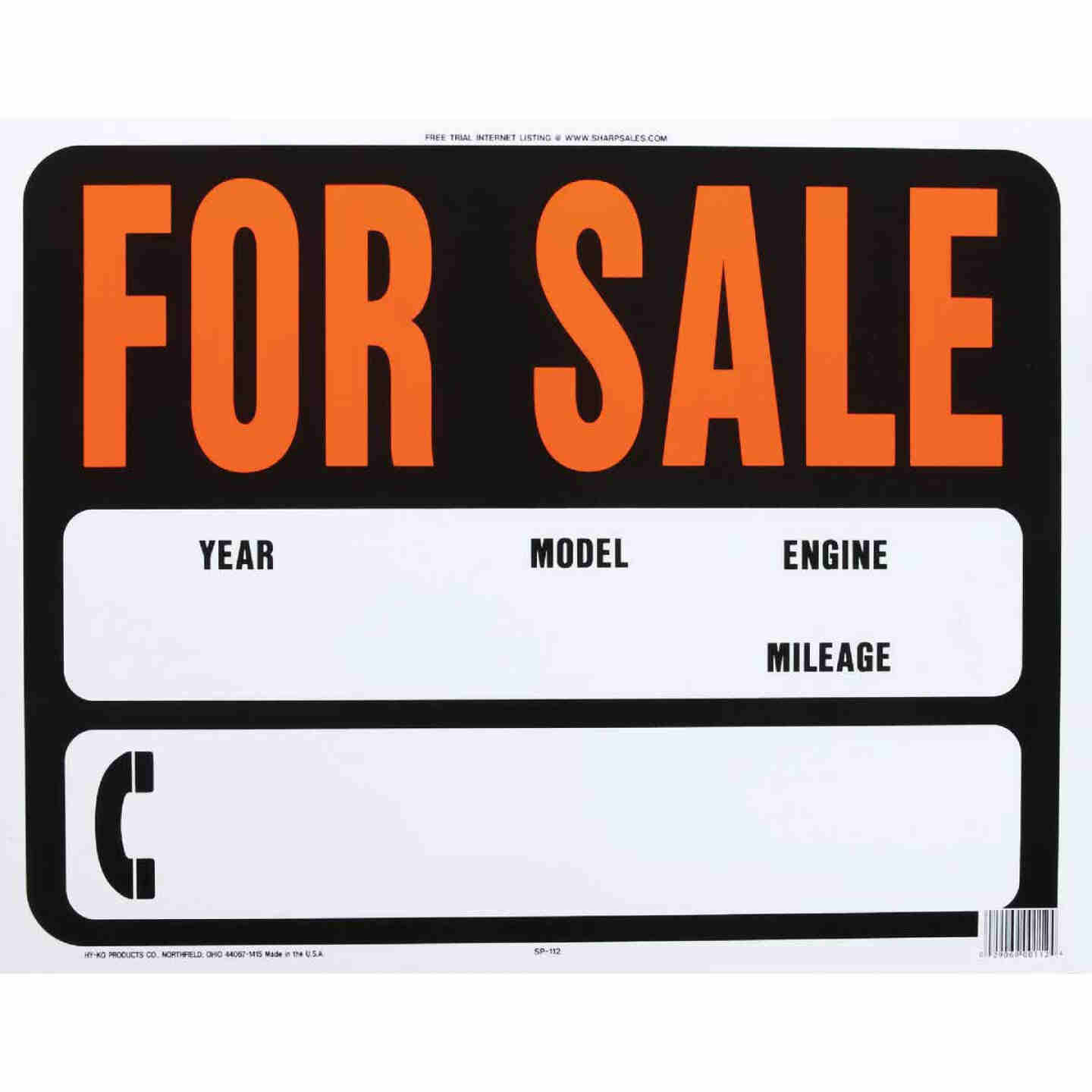 Hy-Ko Auto Heavy Gauge Plastic Sign, For Sale Image 1