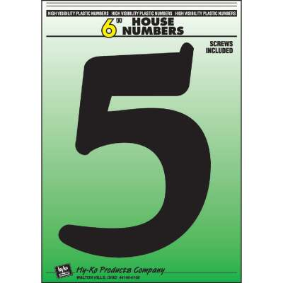 Hy-Ko 6 In. Black Gloss House Number Five