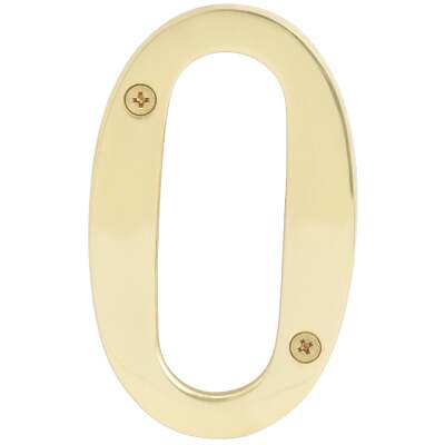 Hy-Ko 4 In. Polished Brass House Number Zero