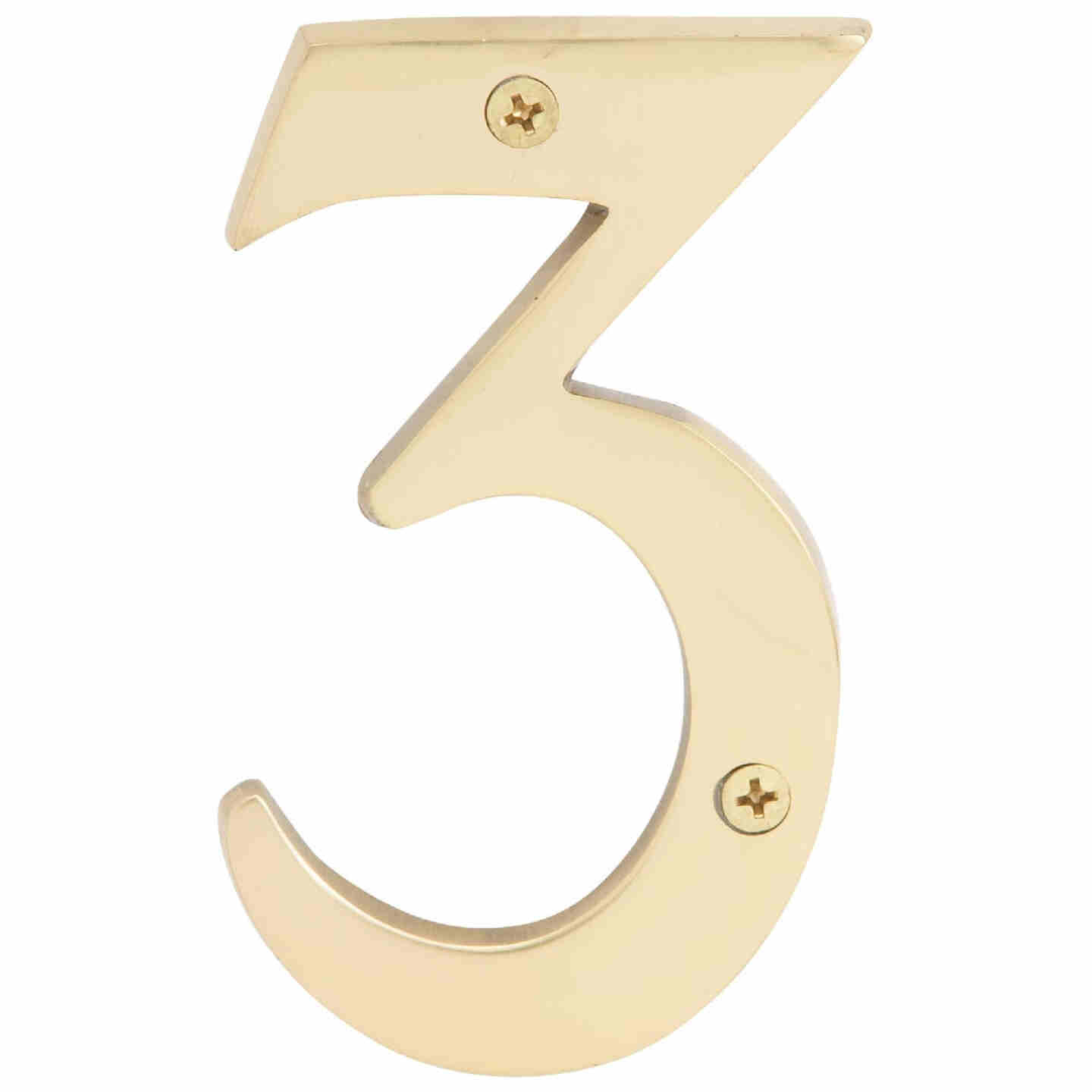 Hy-Ko 4 In. Polished Brass House Number Three Image 1