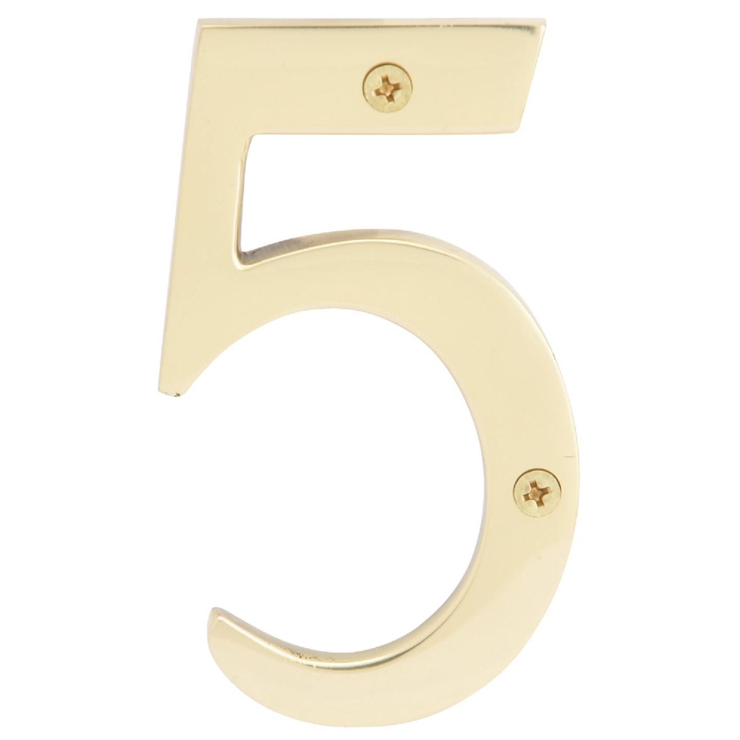 Hy-Ko 4 In. Polished Brass House Number Five Image 1