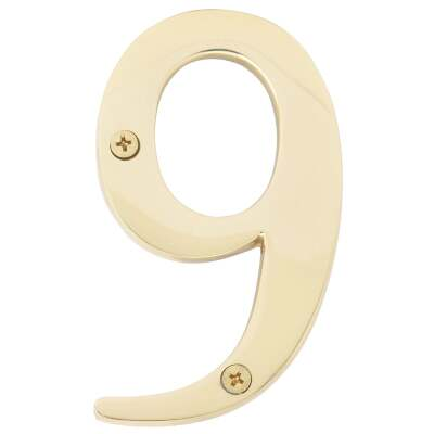 Hy-Ko 4 In. Polished Brass House Number Nine