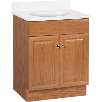 Continental Cabinets Richmond Oak 24-1/2 In. W x 35-1/4 In. H x 18-1/2 In. D Vanity with White Cultured Marble Top
