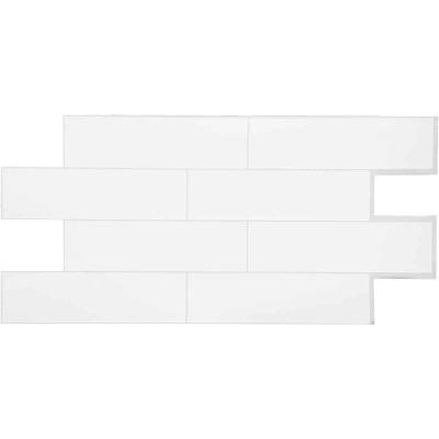 Smart Tiles Approx. 11 In. x 22 In. Glass-Like Vinyl Backsplash Peel & Stick, Oslo White Subway Tile (2-Pack)