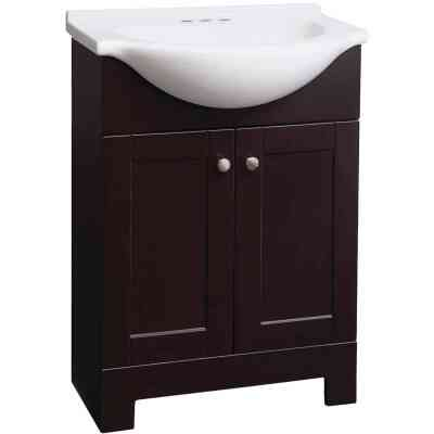 Continental Cabinets European Espresso 24 In. W x 33-1/2 In. H x 12-1/2 In. D Vanity with White Cultured Marble Top
