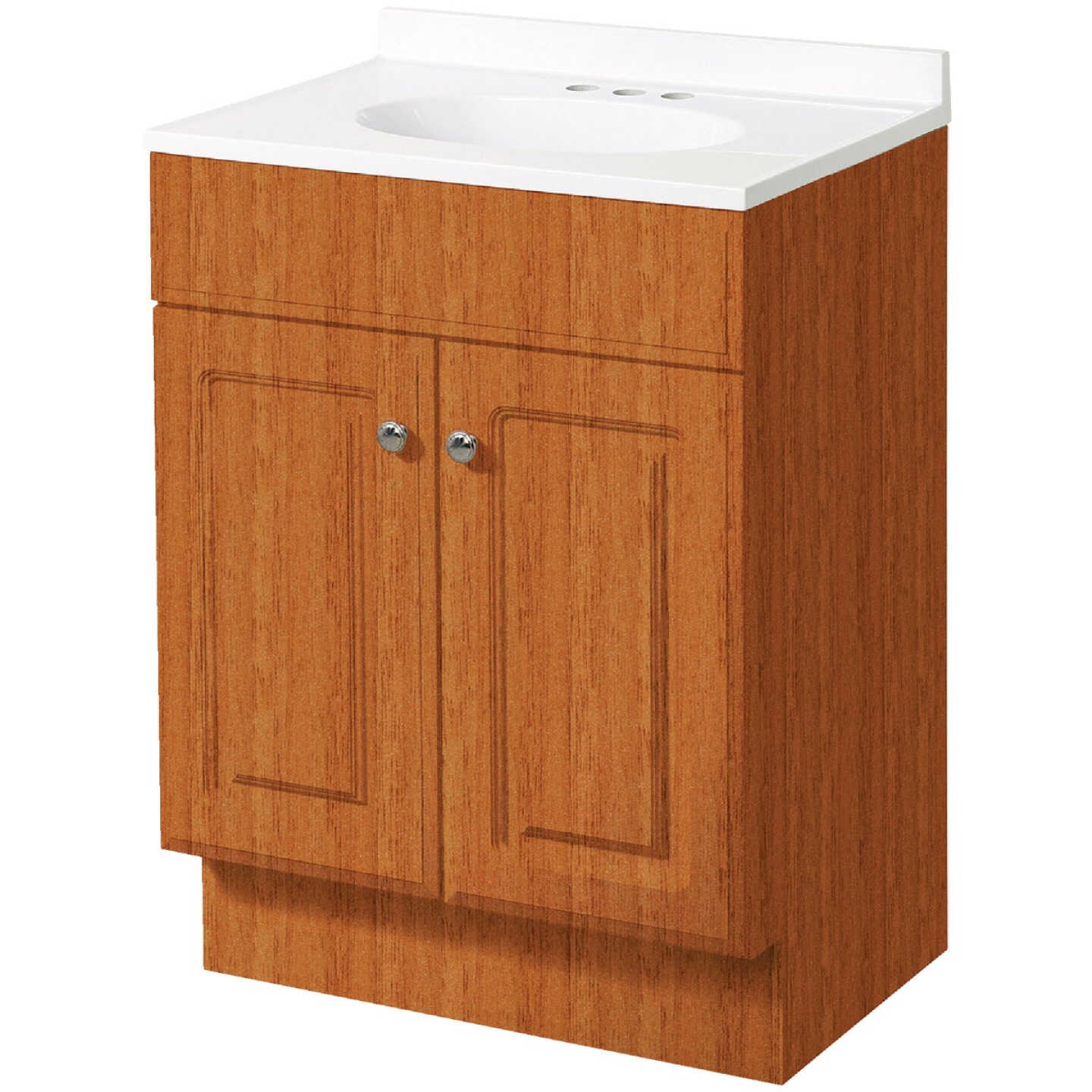 Zenith Zenna Home Oak 30 In. W x 35 In. H x 18 In. D Vanity with White Cultured Marble Top Image 1