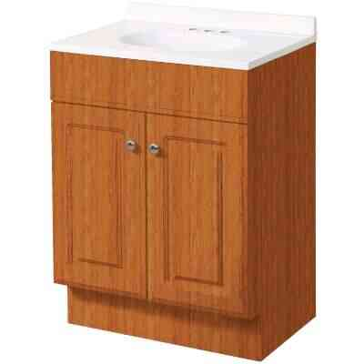 Zenith Zenna Home Oak 30 In. W x 35 In. H x 18 In. D Vanity with White Cultured Marble Top
