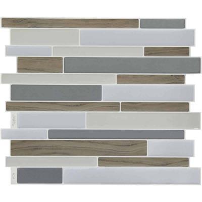 Smart Tiles Approx. 9 In. x 11 In. Glass-Like Vinyl Backsplash Peel & Stick, Milano Argento Mosaic