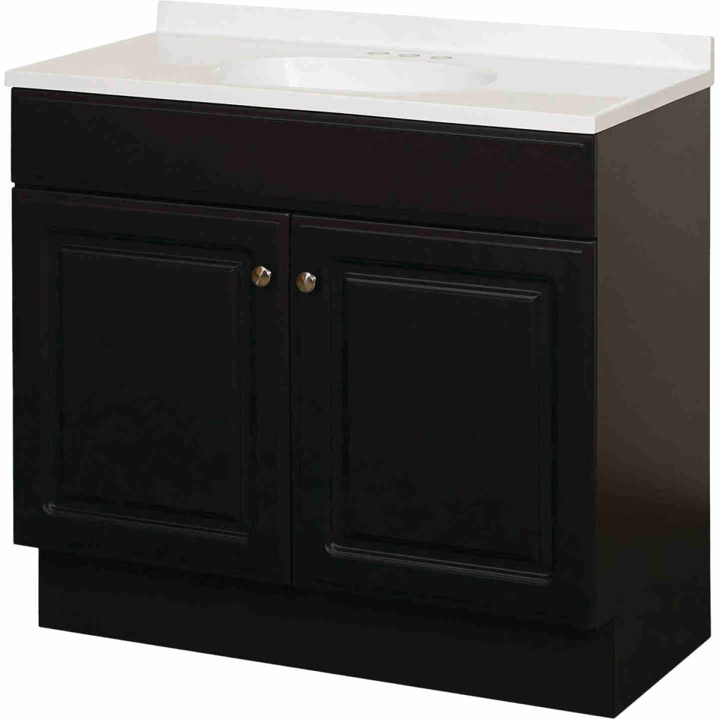 Zenith Zenna Home Espresso 36 In. W x 35 In. H x 18 In. D Vanity with White Cultured Marble Top Image 1