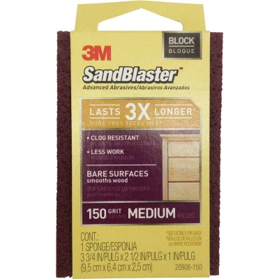 3M SandBlaster Bare Surfaces 2-1/2 In. x 3-3/4 In. x 1 In. 150 Grit Medium Sanding Sponge