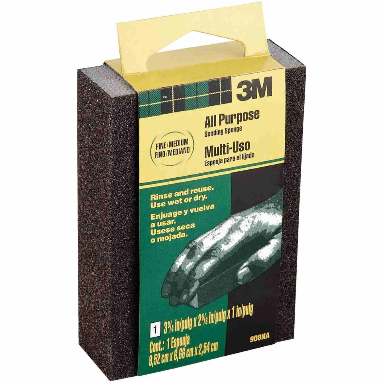 3M All-Purpose 2-5/8 In. x 3-3/4 In. x 1 In. Fine/Medium Sanding Sponge Image 1