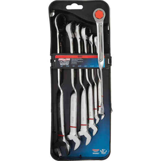Channellock Standard 12-Point Twisted Ratcheting Combination Wrench Set (7-Piece)