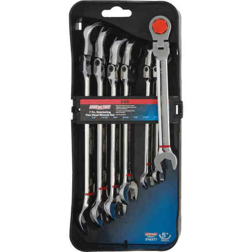 Channellock Standard 12-Point Flex Head Ratcheting Combination Wrench Set (7-Piece)