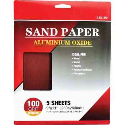 Boss General Purpose 9 In. x 11 In. 100 Grit Medium Sandpaper (5-Pack)