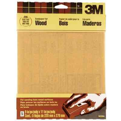 3M Bare Wood 9 In. x 11 In. 220 Grit Very Fine Sandpaper (5-Pack)