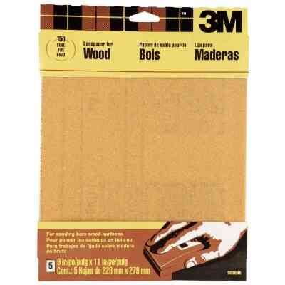 3M Bare Wood 9 In. x 11 In. 150 Grit Fine Sandpaper (5-Pack)