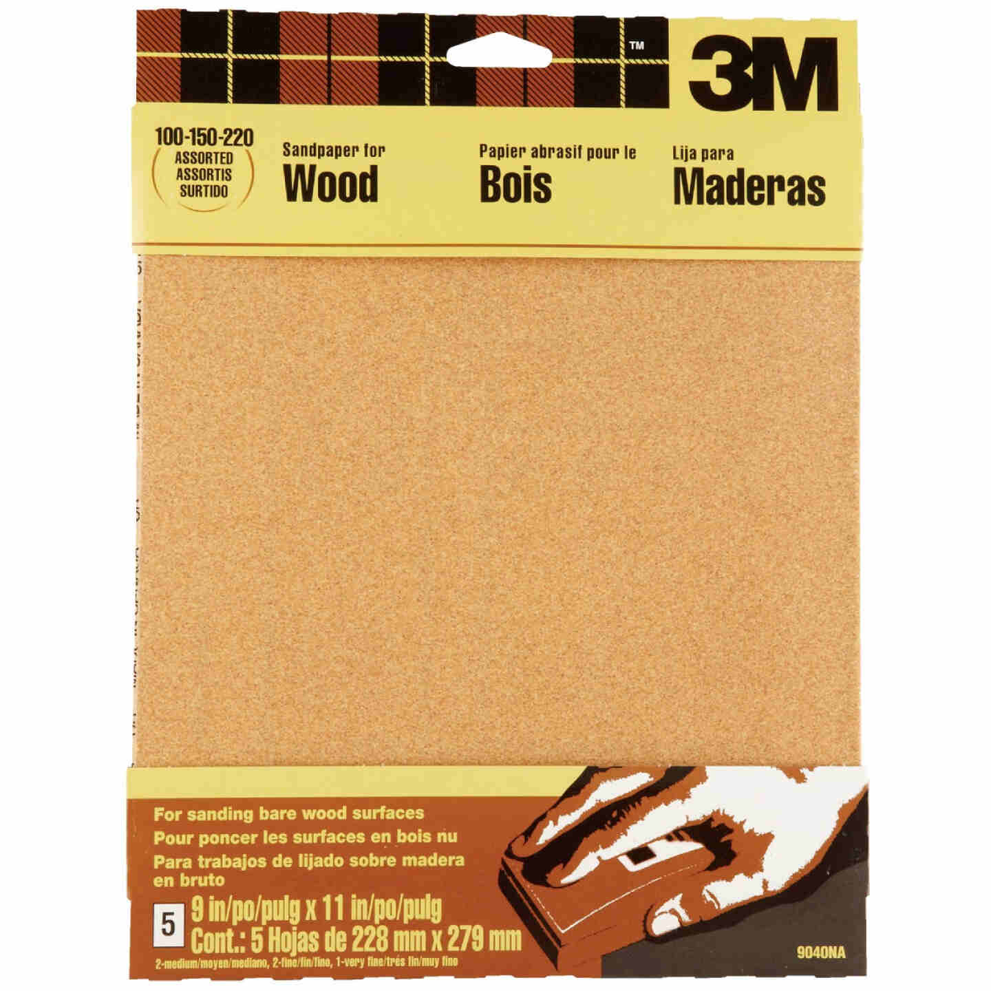 3M Bare Wood 9 In. x 11 In. 220/150/100 Grit Assorted Grade Sandpaper (5-Pack) Image 1