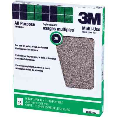 3M All-Purpose 9 In. x 11 In. 36 Grit Extra Coarse Sandpaper (15-Pack)