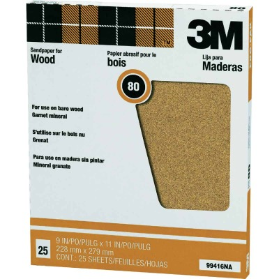 3M Pro-Pak Wood Surfaces 9 In. x 11 In. 80 Grit Medium Sandpaper (25-Pack)