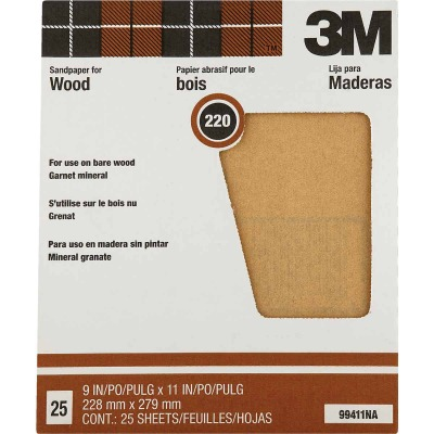 3M Pro-Pak Wood Surfaces 9 In. x 11 In. 220 Grit Very Fine Sandpaper (25-Pack)