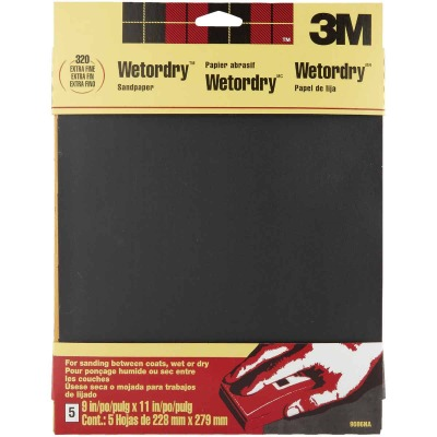 3M Wetordry 9 In. x 11 In. 320 Grit Extra Fine Sandpaper (5-Pack)