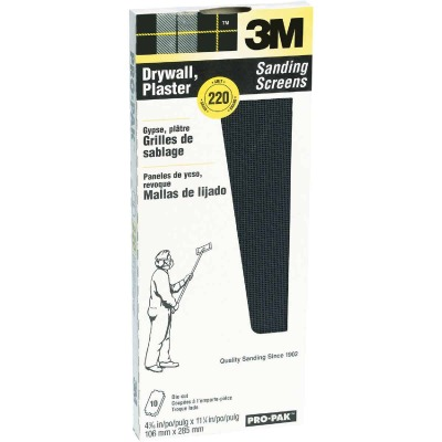 3M ProPak 220 Grit 4-3/16 In. x 11-1/4 In. Precut Drywall Sanding Screen (10 Pack)