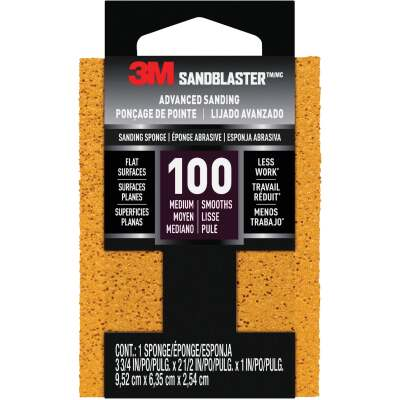 3M SandBlaster Bare Surfaces 2-1/2 In. x 3-3/4 In. x 1 In. 100 Grit Medium Sanding Sponge