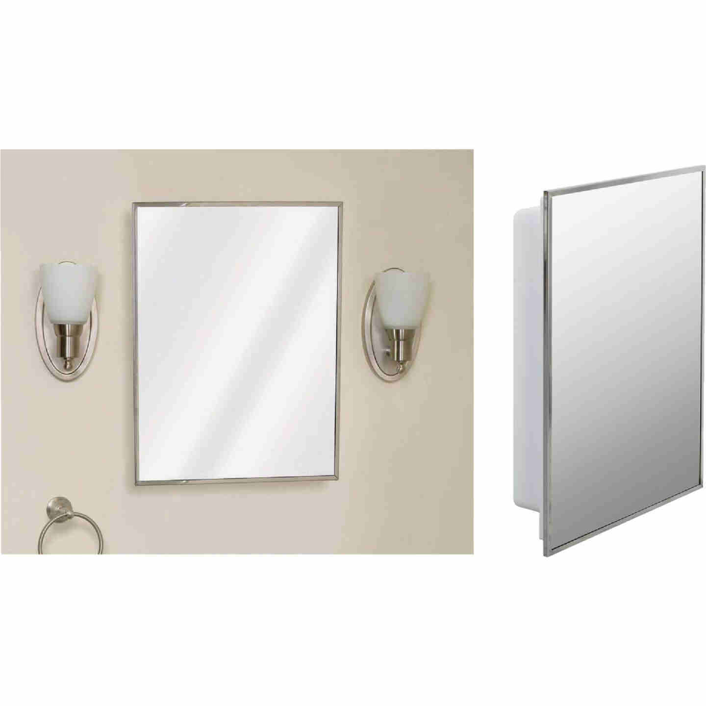 Zenith Stainless Steel 16-1/8 In. W x 20-1/8 In. H x 3-1/4 In. D Single Mirror Surface/Recess Mount Medicine Cabinet Image 1