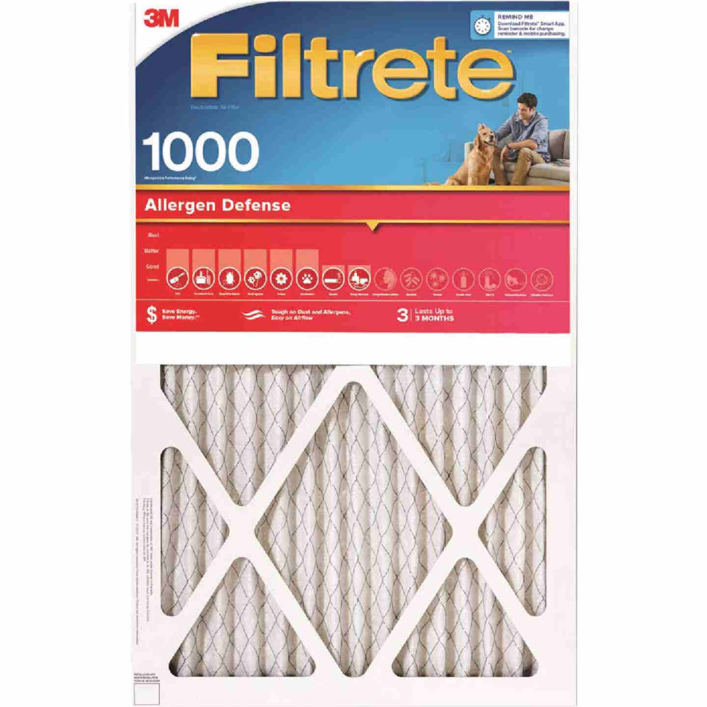 3M Filtrete 15 In. x 20 In. x 1 In. Allergen Defense 1000/1085 MPR Furnace Filter Image 1