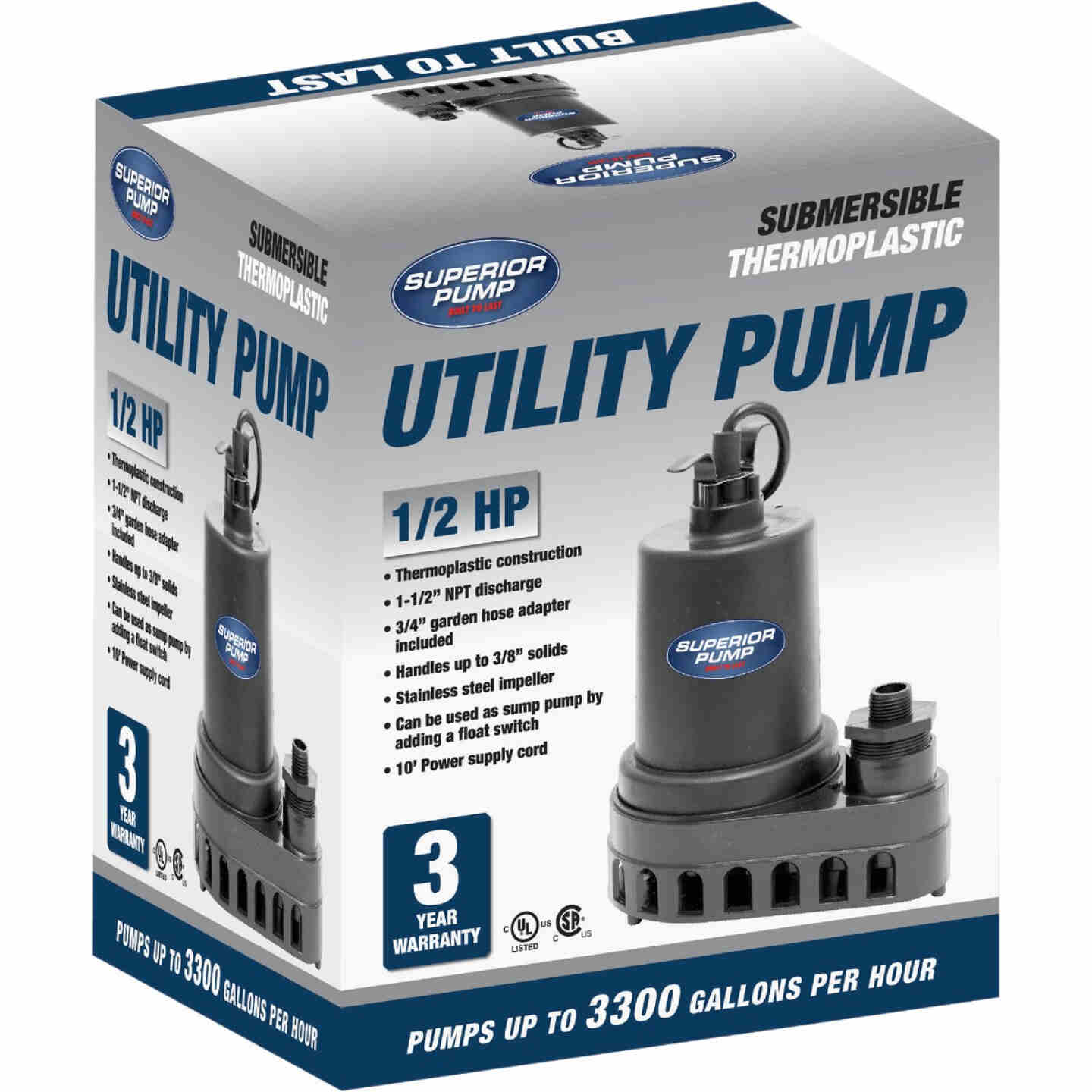 Superior Pump 1/2 HP 3300 GPH Thermoplastic Submersible Utility Pump Image 3