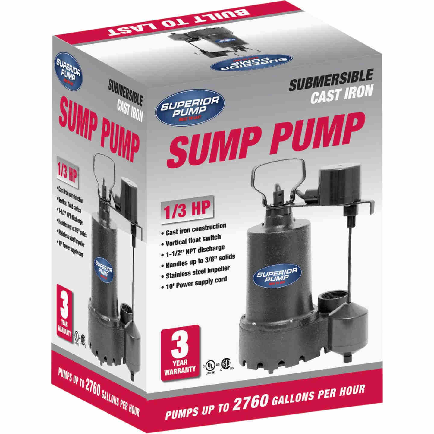 Superior Pump 1/3 HP Cast Iron Submersible Sump Pump with Vertical Float Switch & Stainless Steel Impeller Image 3