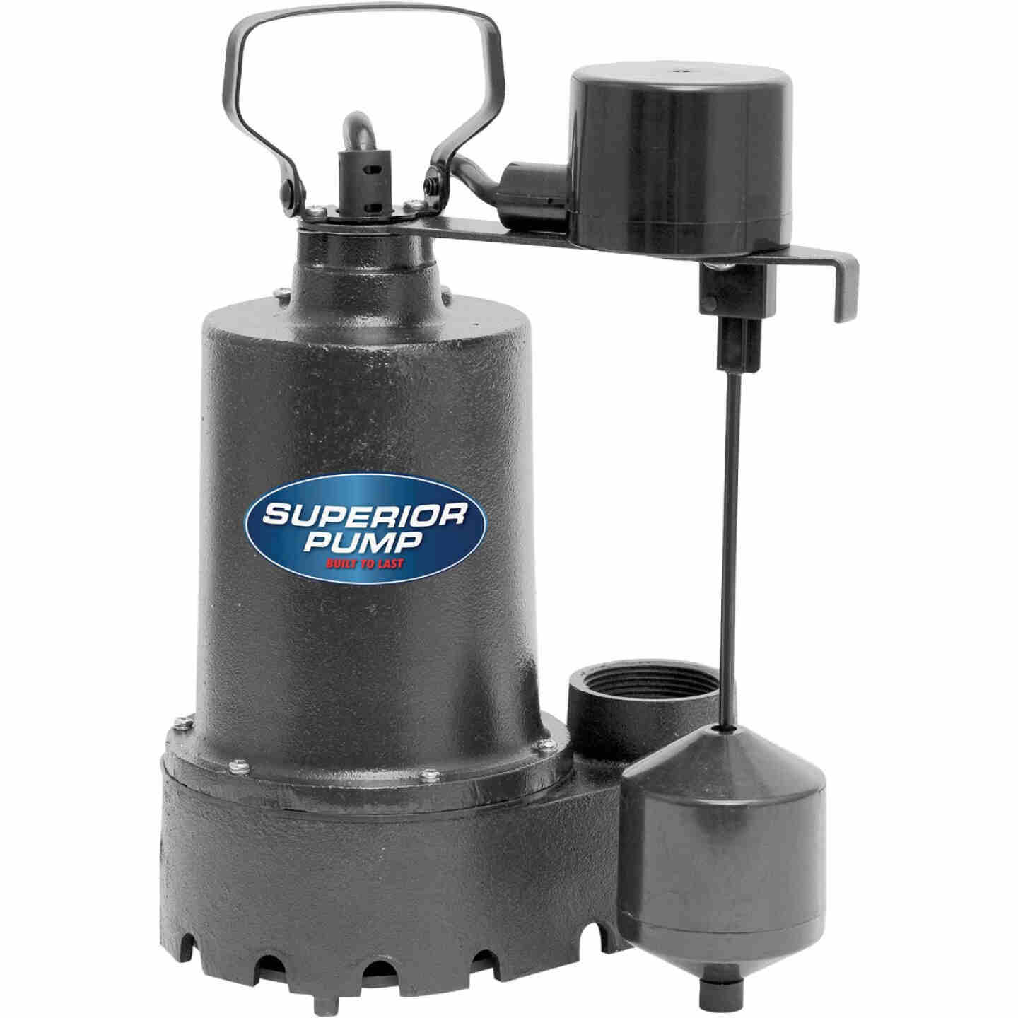 Superior Pump 1/3 HP Cast Iron Submersible Sump Pump with Vertical Float Switch & Stainless Steel Impeller Image 1