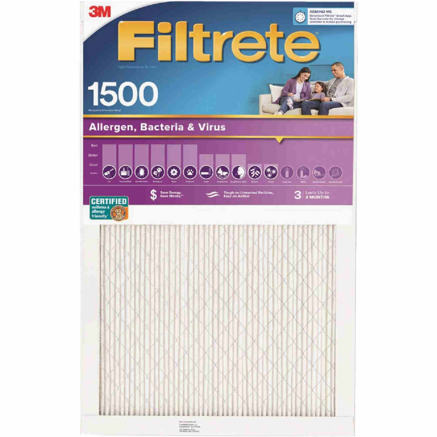 3M Filtrete 16 In. x 16 In. x 1 In. Ultra Allergen Healthy Living 1550 MPR Furnace Filter Image 1