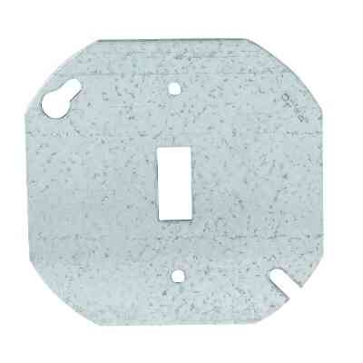 Hubbell 4 In. Single Toggle Switch Silver Round Box Cover