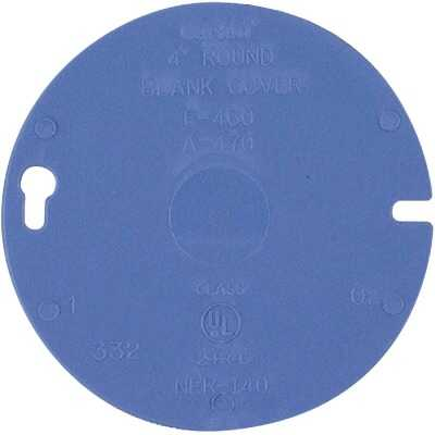 Carlon 4 In. Blank Blue Round Box Cover
