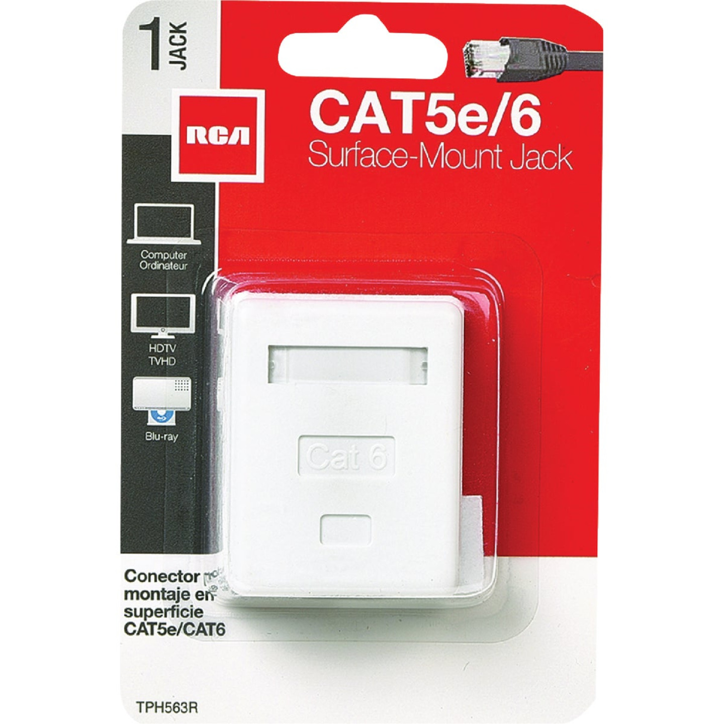 RCA White Surface Mount Plastic CAT 5E/6 Wall Jack Image 2