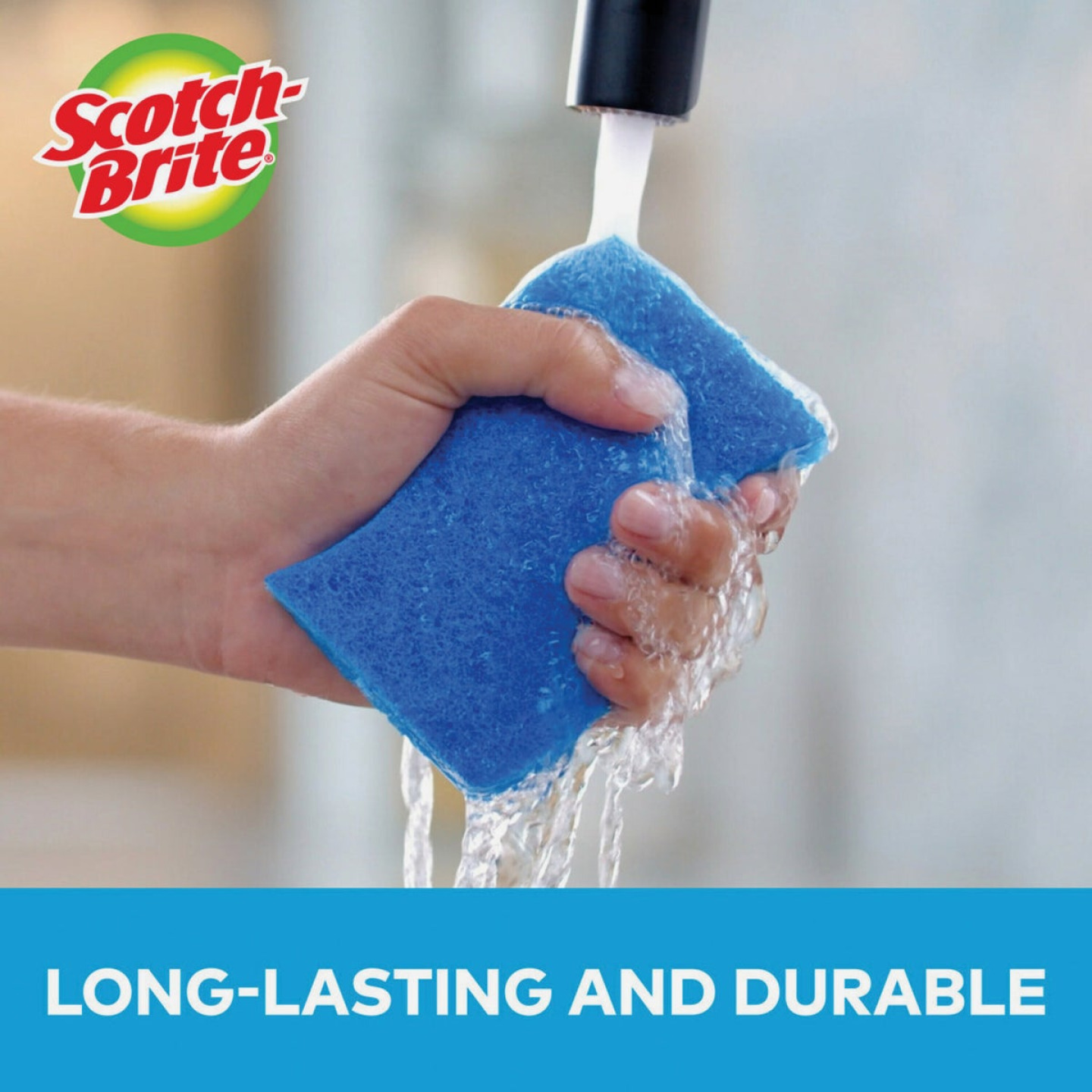 3M Scotch-Brite 4.4 In. x 2.6 In. Blue Scratch Free Scrub Sponge (3-Count) Image 3
