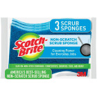 3M Scotch-Brite 4.4 In. x 2.6 In. Blue Scratch Free Scrub Sponge (3-Count) Image 1