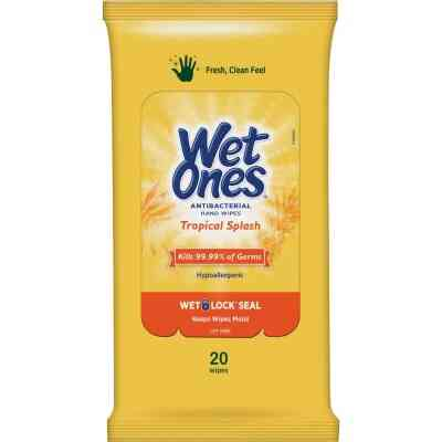 Wet Ones Tropical Splash Antibacterial Disinfectant Individual Hand Cleaning Wipes (20-Count)