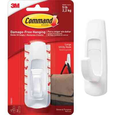 3M Command Large Utility Adhesive Hook (2-Pack)
