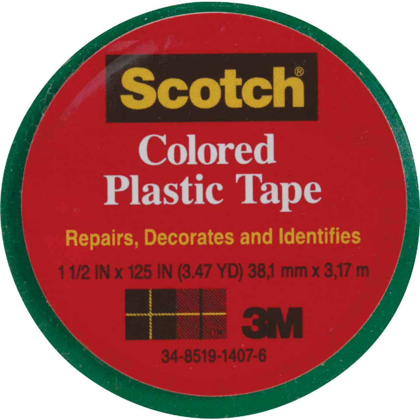 Scotch 1-1/2 In. Green Colored Plastic Tape Image 1